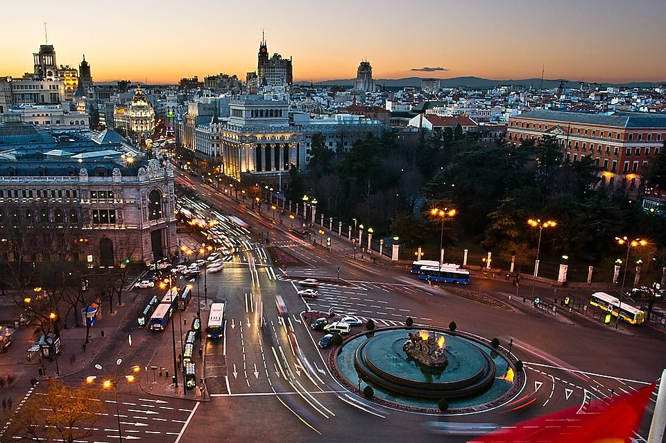 Aerial view of Cibeles square at dusk
