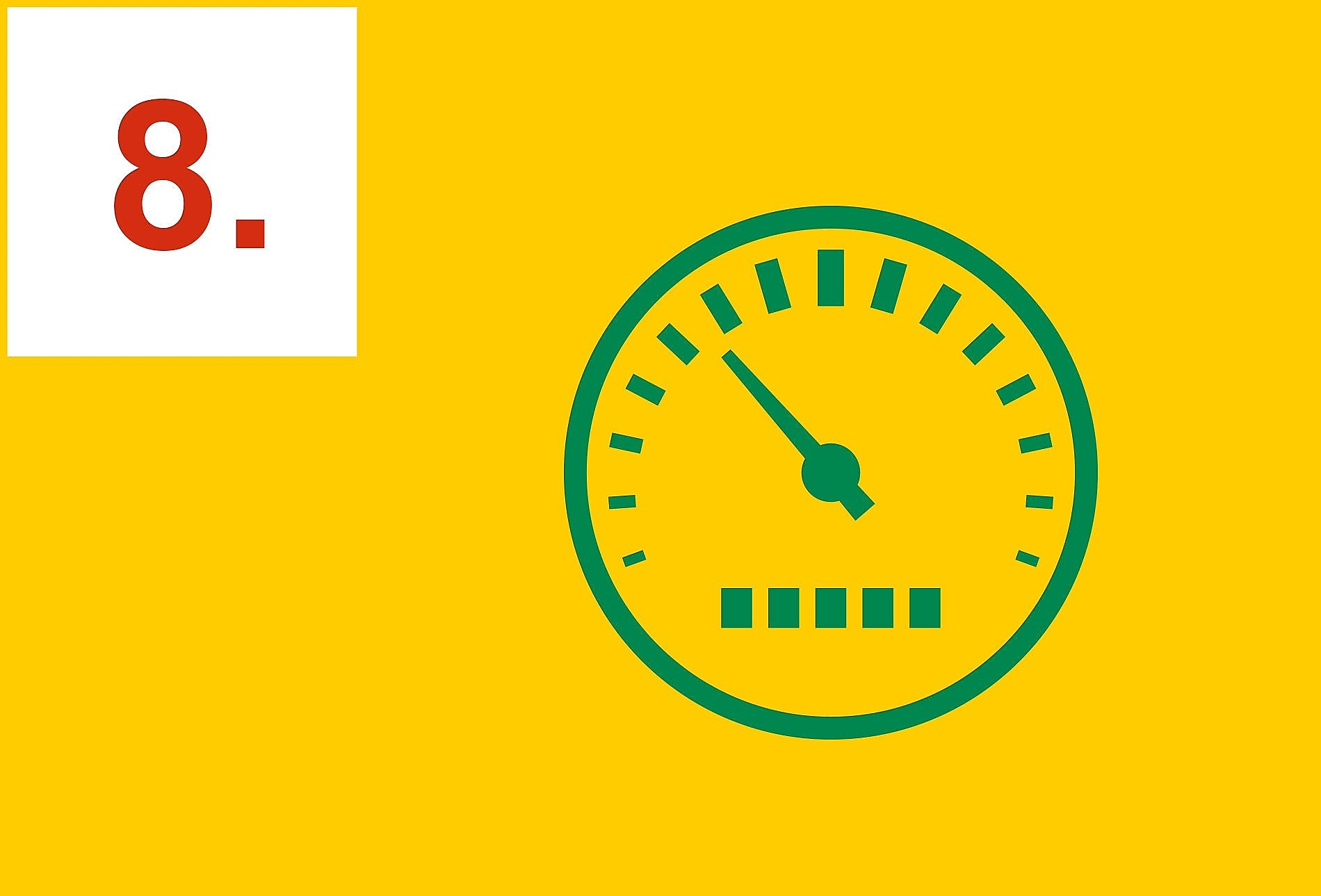 Green speedometer on a yellow background