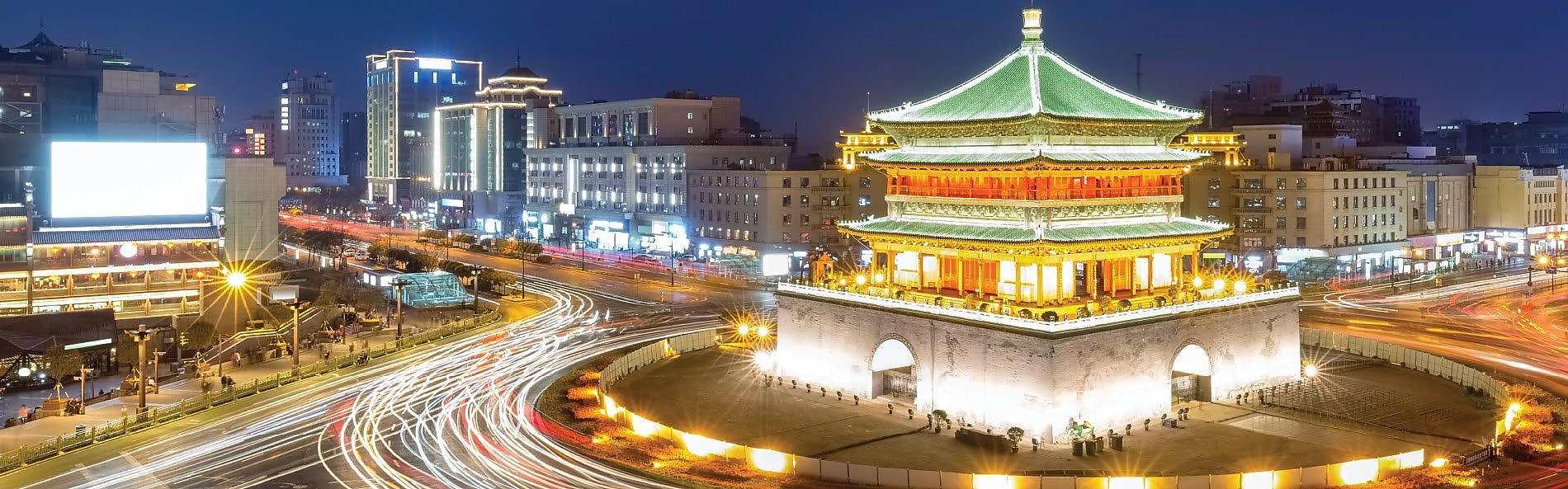 night view of xian bell tower